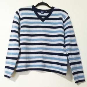 Gap Wool V-Neck Striped Sweater